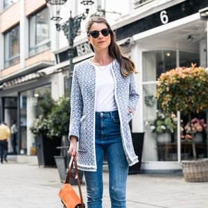 "Zara ""That Coat"" Blue & White Print Size Small"